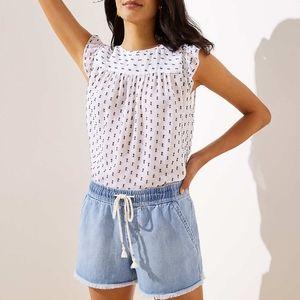 NWT LOFT Frayed Cotton Linen Drawstring Shorts